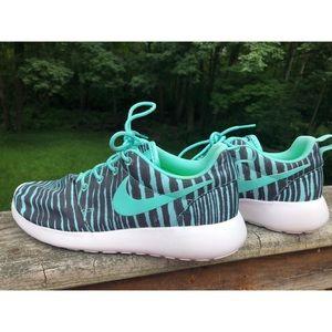 Teal Tiger Nike Roshes